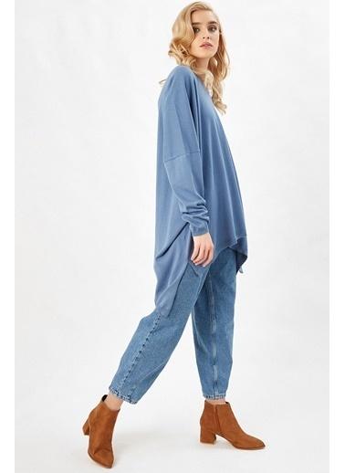 Peraluna Peraluna Mavi Renk V Yaka Yırtmaçlı Bol Kadın Triko Tunik Mavi